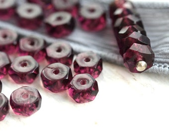 Purple Rondelle beads, fire polished czech glass spacers rondels, gemstone cut purple beads - 6x3mm - 25Pc - 1018
