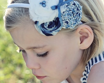 Just a Little Blue- rosette and chiffon flower headband