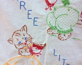 Embroidered Baby Crib Sheet, Vintage Crib Bedding, Nursery Coverlet, Three Little Kittens, Children Bedding, Flat Crib Sheet, Baby Bed Sheet