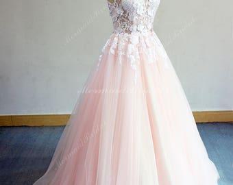 Pink wedding dress etsy unique aline deep v neckline tulle lace wedding dress bohemian wedding dress light pink junglespirit Images