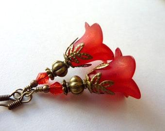 Red earrings Flower earrings Red crimson frosted matt earrings lucite resin vintage earrings