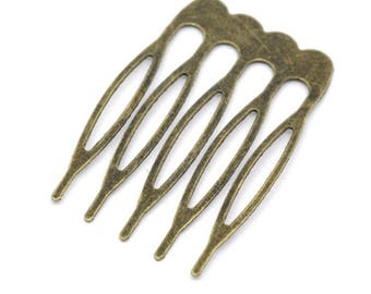 30 pcs Bronze Hair Comb Blanks, Hair Blanks, Findings - FD043