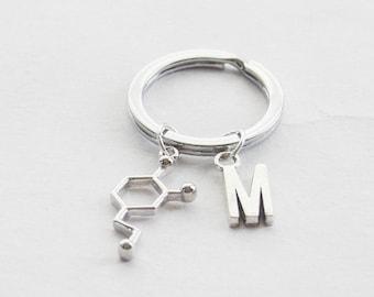 Dopamine Keychain Neurotransmitter Keychain Dopamine Molecule Keyring Initial Keychain Monogram Key ring Science Keyring Chemistry Keychain