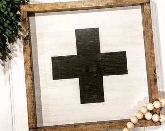 Wooden Sign- Swiss cross, rustic home decor, hand painted