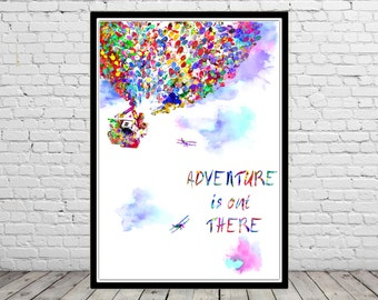 Adventure is out there, watercolor print, Nursery, Kids Room Decor, Up House and Balloons, Balloon