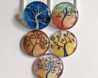 Tree of life magnets, Tree magnets, Glass magnets, Tree magnet set, Nature magnets, Kitchen magnets, Cubicle decor, Teacher gift, Gifts