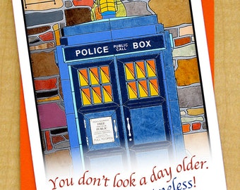 Police Call Box Card- Dr Who card- Birthday Card- Small Card- Looking Timeless- TARDIS Card- Doctor Who Card- British Card- TARDIS