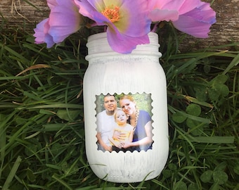 gift for her, gift for mom, mason jar, fake flowers, photo holder, picture, home decor, housewarming gift, flower decor, vase, her birthday
