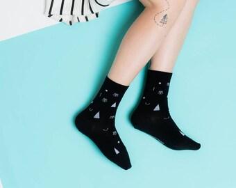 Friendly Socks | Confetti Face | Black, Muster, Socken, Strümpfe, Gesicht, Damenstrümpfe, Herrenstrümpfe, Unisex, lustig, schwarz, weiß