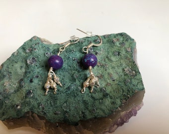 Purple Mohave Turquoise Earrings with Sterling Silver