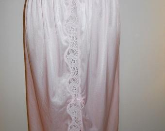 Vintage Pink Nylon Slip ~ 1980's St Michael Half Slip ~ Vintage Petticoat ~ Strawberry Pink Silky Nylon Slip ~  Lacy Front Slit Slip ~