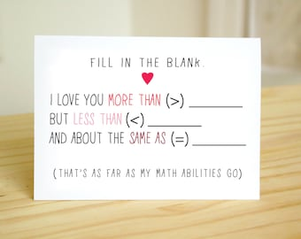 Fill in the Blank (Math) - Nerdy, Funny, Ad Libs Anniversary Card / Valentine's Day Card