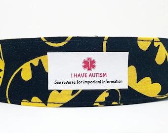 Medical Alert Bracelet Kids Safety ID Fabric Wristband Autism ID Medical Bracelet Custom Labels Batman
