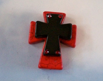 Large Stacked Red Stone Cross with Black Stone Cross and Bling, Craft and Jewelry Supply