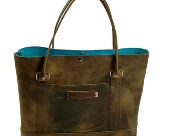 Westfield Tote Bag - Distressed Oil Tanned Leather / Suede Lined - Large