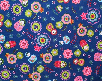 Rusian doll fabric - Flower fabric - Blue fabric - Blue floral fabric - Quilting fabric - Childrens fabric - Cotton fabric - Fabric UK