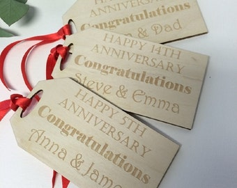 Wedding Anniversary Gift Tag - Personalised Anniversary Gift Tag - Wooden Gift Tag - Giant Gift Tag - Oversized Gift Tag - Gift Wrap