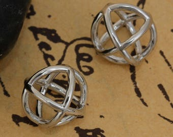 3 charms round shaped 3D copper silver 1.2 cm / geometric / Cage