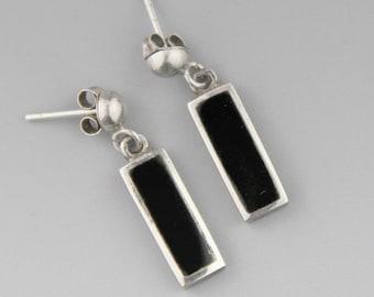 Mexican Earrings, Onyx Earrings, Sterling Silver Earrings, Minimalist Earrings, Mexican Jewelry, Gift For Her, Small Dangle Earrings