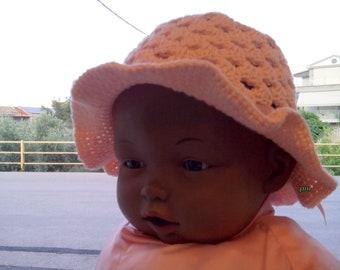 Summer hat crochet, salmon cotton hat, summer hat, spring cotton hat, childrens asseccories, wide brimmed hat, sun hat, kids hat, #etsy