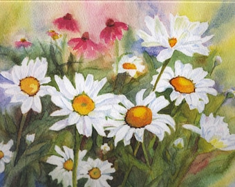 Watercolor Daisy Card.  All-Occasion 5x7 Field of Daisies Card.  Beautiful Flower Card.