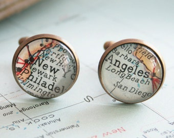 Custom map Cuff link customized cufflinks with own location Old map cufflink for men personalized Fathers Day Gifts for Dad
