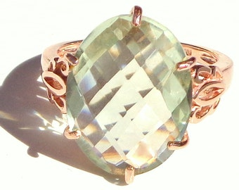 SALE, Sz 7, Victorian Design, Solid 10K Rose Gold, Prasiolite, Green Amethyst, Filigree Ring, Engagement, Wedding, Promise Ring