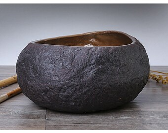 Free Shipping Chinese Calligraphy Hand Made Crude Pottery Brown Color Brush Wash Water Bowl 19x10cm 0062 Orientalartmaterial Supply