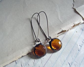 Amber Glass Earrings Faceted Stained Glass Jewelry
