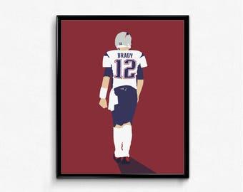 Tom Brady Minimalist Sports Poster - GOAT, New England, Boston, Football Poster
