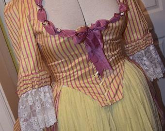 1780s Georigan Silk Polonaise Ensemble