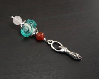 Red Carnelian Rose Quartz Ocean Wave Birth Goddess Blessingway bead - Blessing bead, baby shower gift, pregnancy gift, doula gift, pendant