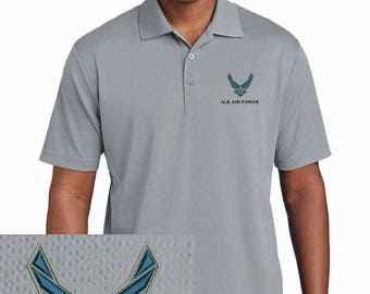 us air force embroidered gray dryfit polo shirt new usaf