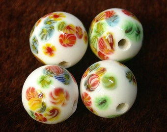Vintage JAPANESE MILLEFIORI Glass Beads White 8mm pkg4 gl190