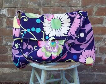 Extra Large Blue Diaper Bag - Amy Butler Midnight Garden - Adjustable Strap - Key Fob - 6 pockets - Flap