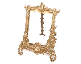 Vintage Brass Photo Frame, Art Nouveau Frame, Baroque Gold Photo Frame, Ornate Antique Brass Picture Frame, Free Standing Frame, Gold Frame