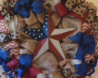 Patriotic Star Burlap and Mesh Wreath; Americana Wreath; Summer Wreath; Fourth of July Wreath; Memorial Day Wreath; Labor Day Wreath