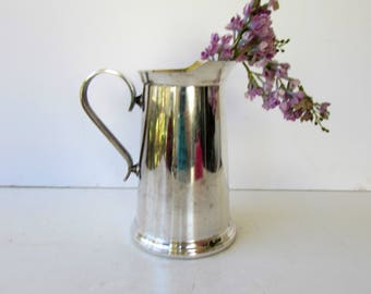 Vintage Silver Water Pitcher with a Glass Bottom - Silverplate - Water Pitcher - Italian PM Silverplate - 44 oz - Shabby Chic Vase