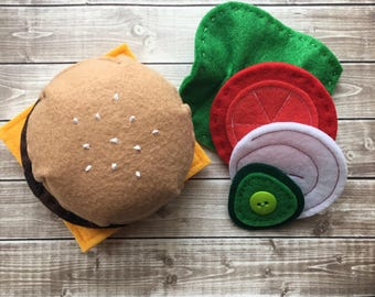 felt food, play food montessori toy, autism toys, stacking toy, sensory toy, felt cheeseburger, felt play food hamburger set, felt hamburger