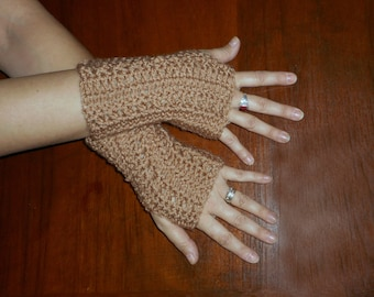 Toasted Almond Fingerless Gloves. Cross Stitch Crochet Gloves hand warmers Men's Gloves Practical Gift For Him Unisex Winter Fall Acessory