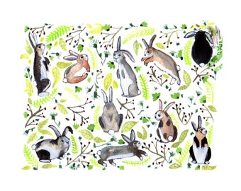 Bunnies and Wildflowers 8x10 Archival Print