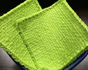 Handmade Large Woven Potholder Duo Set in Lime