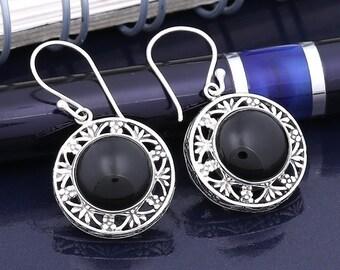 Onyx Ajoure Sterling Silver Dangle Earrings - Onyx Earring, Silver Earring, Hallmarked 925, Handmade, Sterling Silver 925, Onyx Black Stone