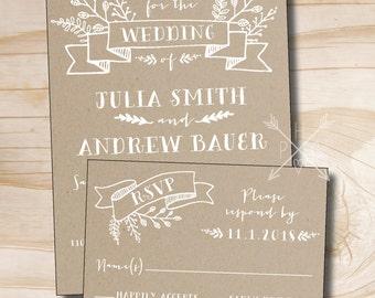Rustic Kraft Wedding Invitation and Response Card / RSVP Invitation Suite