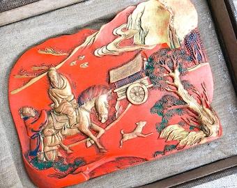 Vintage Confucius on a Horse Cinnabar Ink Stick