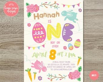 Easter Bunny Birthday Invitation // 5x7 Easter Egg Hunt Birthday Party - Bunny First Birthday - Hop On Over Easter Egg Hunt  Spring Birthday