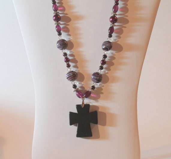 JKCE Designs Purple and Black Cross One Of A Kind Beaded Necklace and Earring Set, Cross Pendant Necklace, Religious Jewelry, Gift For Her