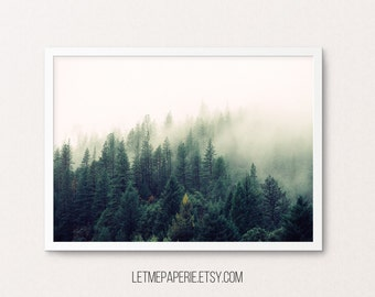 Nature Print, Nature Photography, Forest Photography, Forest Print, Nature Wall Art, Tree Print, Nature art, Forest, Foggy, Trees, Printable