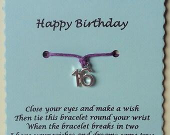 16th Birthday Gift, Birthday Friendship Bracelet, 16th Charm Bracelet, Sweet 16 Gift, Birthday gift, 16th Birthday Bracelet, Gift Sweet 16