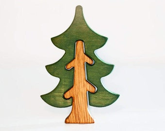 Pine tree Waldorf nature table Wooden Tree Toy Tree figurine Waldorf tree toy